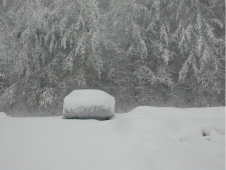 How to forgive someone:  if you cannot find a way to forgive, you will likely find yourself as stuck as the car in the snow of this photo.