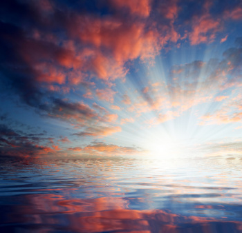 Karuna Reiki benefits include encouraging you to see your own inner light and being true to yourself.  Sunrise over water is designed to help put you in that frame of mind.