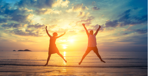When you use the law of gratitude, you will be more present to joy in your life.  Photo:  people jumping with joy.