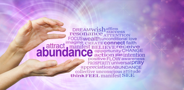 Prosperity Affirmations Word Cloud containing such words as abundance, wealth, prosperity, appreciation, manifest, see, connect, faith, affirm